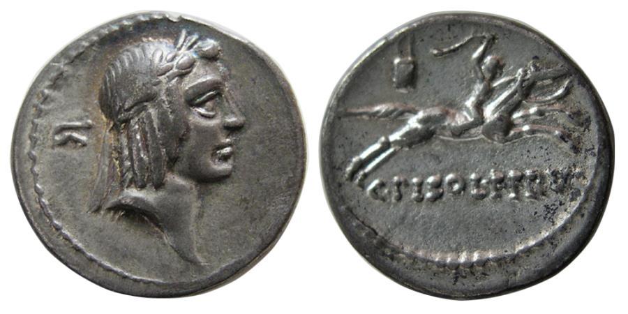 Ancient Coins - ROMAN REPUBLIC. C. Calpurnius Piso Frugi. 67 BC. AR Denarius.