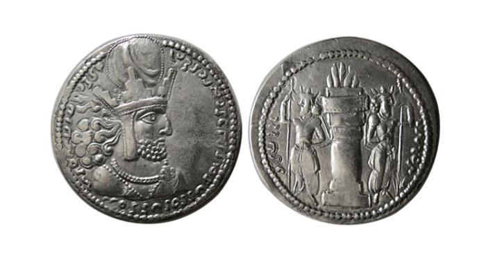 Ancient Coins - SASANIAN KINGS. Shahpur I. 240-272 AD.AR Drachm