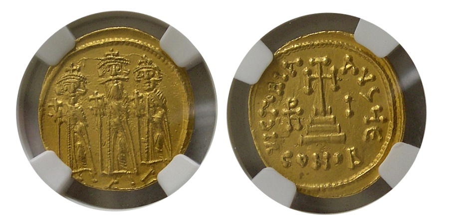 Ancient Coins - BYZANTINE EMPIRE. Heraclius & colleagues, 610-641 AD. AV Solidus. NGC-AU (Strike 5/5; Surface 4/5)