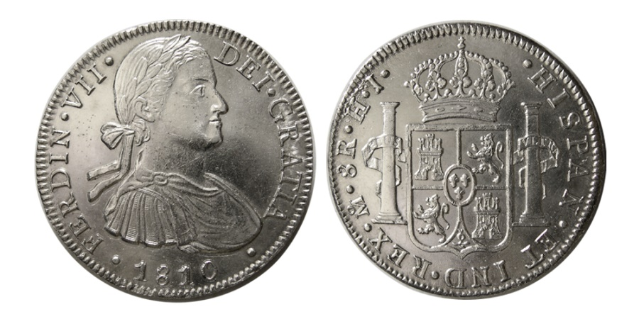 World Coins - MEXICO, Colonial. Fernando VII. King of Spain, 1808-1833. AR 8 Real. Mexico city mint, 1810 HJ.