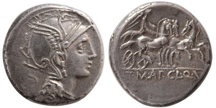 Ancient Coins - ROMAN REPUBLIC. Ap. Claudius Pulcher, T. Manlius Mancius, Q. Urbinus (111-110 BC). Silver Denarius