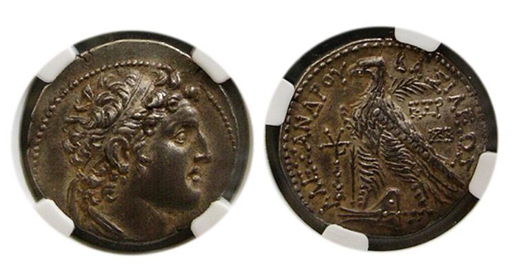 Ancient Coins - SELEUCID KINGDOM. Alexander I Balas. 152-145 BC. AR Tetradrachm. Tyre, dated SE 165(148/7 BC).