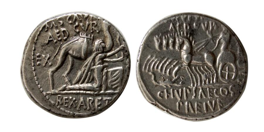 Ancient Coins - ROMAN REPUBLIC. M. Aemilius Scarurus. 58 BC. AR Denarius.