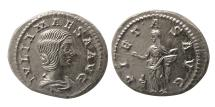 """Ancient Coins - ROMAN EMPIRE. Julia Maesa. AD. 218-222. AR Denarius. Choice Superb """"As Struck""""."""