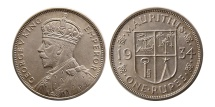 World Coins - MAURITIUS. George V. 1910-1936. AR Rupee, dated 1934.