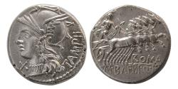 Ancient Coins - ROMAN REPUBLIC. M. Baebius Q.f. Tampilus. Ca. 137 BC. AR Denarius.