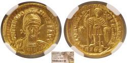ROMAN EMPIRE. Theodosius II. AD. 402-450. Gold Solidus. NGC-Choice MS.
