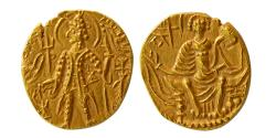 World Coins - INDIA; KUSHAN KINGS. Shaka. Ca. 325-345 AD. Gold Stater. Choice FDC.