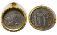 SASANIAN KINGS. Shahpur I.  Genuine Silver Drachm, Set in a 24K gold frame & 24 inches Long 24K gold Chain