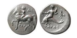 Ancient Coins - CALABRIA, Tarentum. Circa 281-240 BC. Silver Nomos.