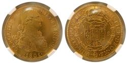 World Coins - SPANISH COLONIAL, Mexico. Carlos IIII. 1788-1808. Gold 8 Escudos. NGC-AU 58. 1801 Mo-FM.