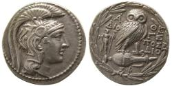 Ancient Coins - ATTICA, Athens. Ca. 129-128 BC. AR Tetradrachm. New Style Coinage.