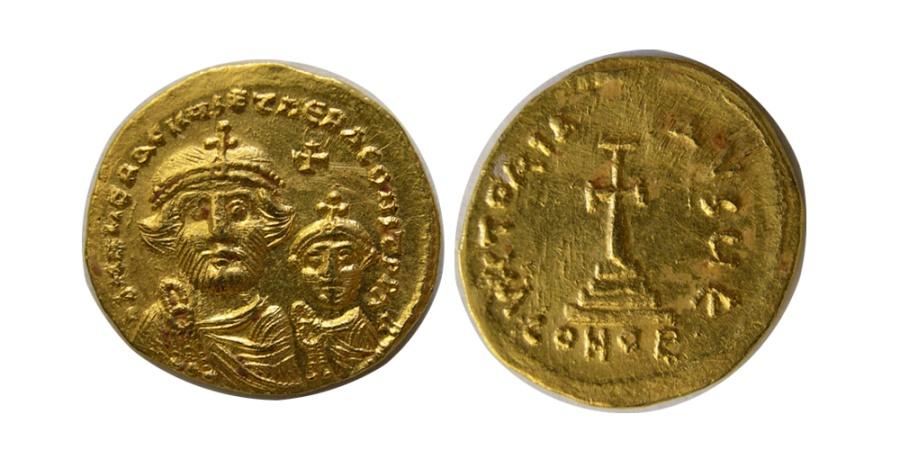 Ancient Coins - BYZANTINE EMPIRE. Heraclius. 610-641 AD. AV Solidus. Lustrous.