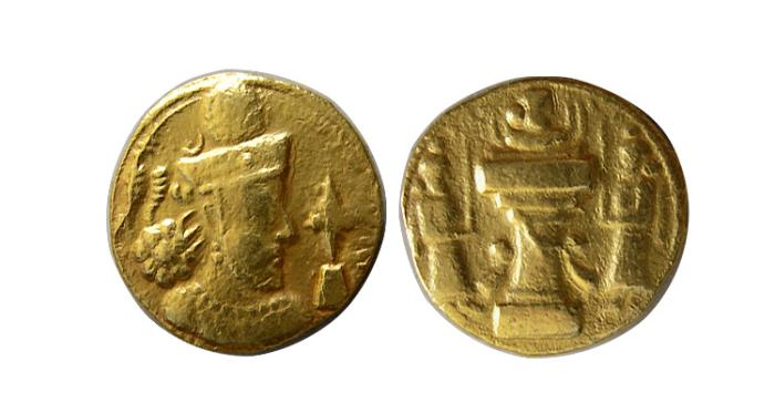 Ancient Coins - SASANIAN KINGS. Shahpur III. 383-388 AD. Sind mint. AV Dinar. Unpublished. Extremely rare.