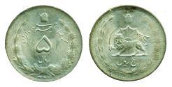 World Coins - IRAN, PAHLAVI: WWII era Silver 5 Rials 1323 (1944), aUNC!