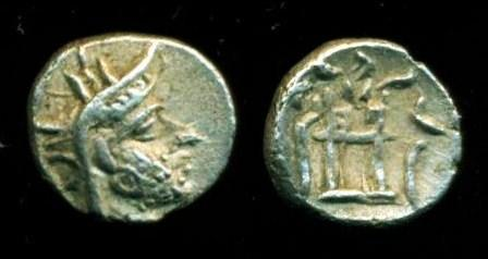Ancient Coins - KINGDOM OF PERSIS: Darev I (Darius I ) ; 2nd century BC; Silver Obol (0.68 g 9 mm), Bold strike, SUPERB EF
