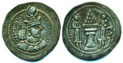 Ancient Coins - ASANIAN Empire: Yazdgard II , AD 438 - 457, Silver Drachm, WH Mint of veh-Ardashir