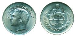 World Coins - IRAN, PAHLAVI: 1974 Muhammad Reza Shah 10 Rials SH 1353 B.U. Mint State!