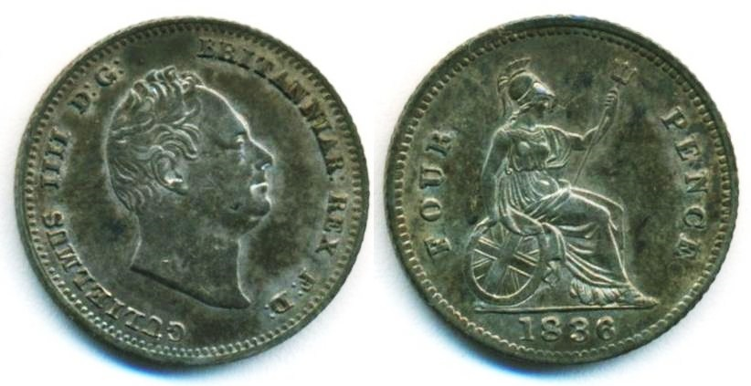 World Coins - Great Britain: William IV, Silver 4 Pence, 1836, EF+