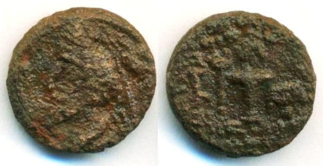Ancient Coins - PARTHIA: Phraates IV ; c. 38 - 2 B.C. ; AE DiChalkous (2.04 g 13 mm), Sellwood 52 , Mint of Mithradatkart, Arsacid symbol