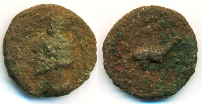Ancient Coins - PARTHIA: Orodes II, 57-38 B.C, AE Chalkous (1.88 g 14 mm), Sellwood type 48 , Stag