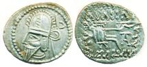 Ancient Coins - ARTHIA: Vologases VI, Silver Drachm, Mint of Ecbatana, Choice EF