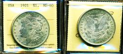 Us Coins - USA: 1921 Morgan Silver Dollar, Certified High Grade Gem UNC. by ICCS MS-60