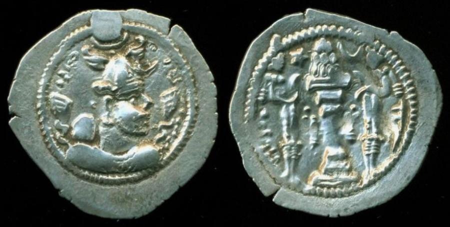 Ancient Coins - SASANIAN EMPIRE: PEROZ, 459-484, SILVER DRACHM, UNIDENTIFIED MINT, GOBL-174, EF