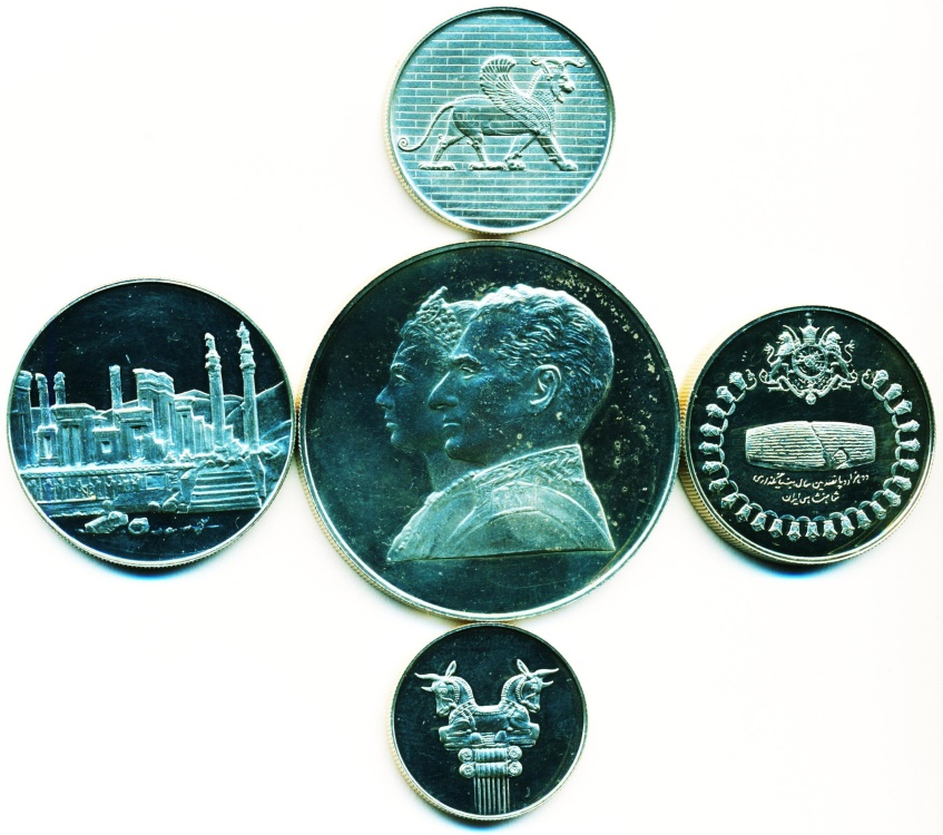 World Coins - IRAN: 2500TH ANNIVERSARY OF PERSIAN EMPIRE, COMPLETE SET 5 SILVER COINS, 1971, UNC. PROOF, A BEAUTY!
