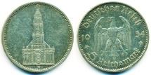World Coins - THIRD REICH GERMANY: 1934 SILVER 5 REICHSMARK POTSDAM GARRISON CHURCH