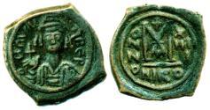 Ancient Coins - Byzantine Empire: Maurice Tiberius, AE Follis, Mint of Nikomedia, Struck AD 595, Full Strike! ON SALE!