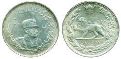 World Coins - IRAN, PAHLAVI: REZA SHAH, SILVER 2000 DINAR, SH 1307 (1928), UNC.