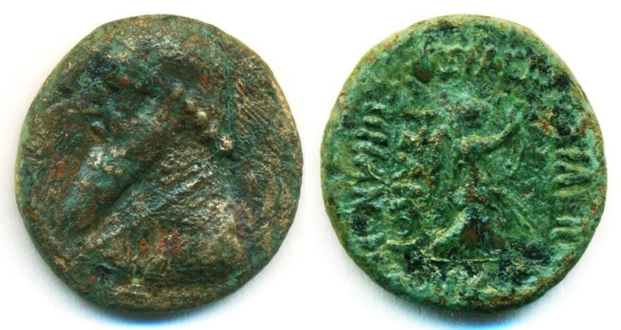 Ancient Coins - PARTHIA: MITHRADATES II (121-91 B.C), AE DICHALKOUS, SELLWOOD TYPE 27, NIKE