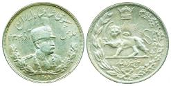World Coins - IRAN, PAHLAVI: REZA SHAH, SILVER 5000 DINAR, SH 1308 (1929), aUNC. SCARCE DATE!