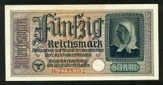 World Coins - NAZI GERMANY: 1940-1945 THIRD REICH Occupied Territories 50 funfzig Reichsmark Banknote, UNC.