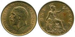 World Coins - UK GREAT BRITAIN: 1936 GEORGE V ONE PENNY RED BROWN UNC.