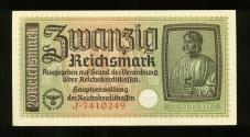 World Coins - NAZI GERMANY: 1940-1945 THIRD REICH Occupied Territories 20 zwanzig Reichsmark Banknote, UNC.