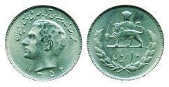 World Coins - IRAN, PAHLAVI: 1975 Muhammad Reza Shah 10 Rials SH 1354 UNC.