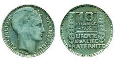 World Coins - FRANCE: 1932 Silver 10 FRANCS, Madam Republic