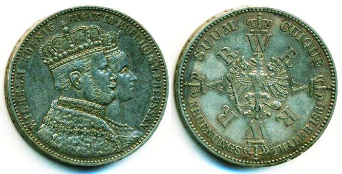 World Coins - German State, Prussia: AR Thaler, CORONATION of WIHELM and AUGUSTA, 1861A, Nice EF