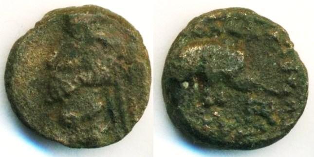 Ancient Coins - PARTHIA: Phraates IV ; c. 38-2 BC ; AE Dichalkous (2.60 g 13 mm), Sellwood 51, Elephant, NICE!
