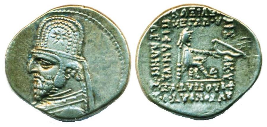 Ancient Coins - PARTHIA: ORODES I; 90-80 B.C.; Silver Drachm, Mint of Ecbatana