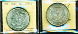 Us Coins - USA: 1880 Morgan Silver Dollar, Certified High Grade by ICCS AU-55