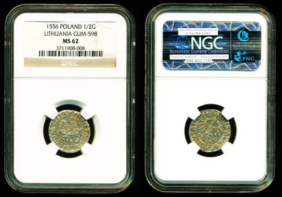 World Coins - Poland, Lithuania: Sigismund II Augustus (1546-1572) , Silver 1/2 Groschen (1/2G), Struck 1556, GUM-598, NGC MS62 SUPERB UNC.