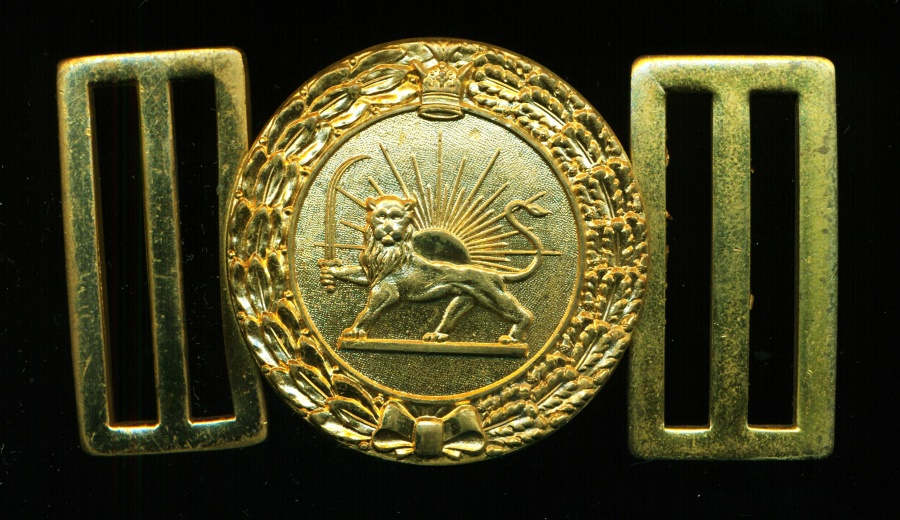 World Coins - IRAN: PAHLAVI MILITARY BUCKLE LION AND THE SUN, SUPERB & RARE, A BEAUTY! ON SALE!!