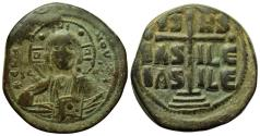 Ancient Coins - BYZANTINE EMPIRE: ROMANUS III 1028-1034 A.D., BRONZE FOLLIS, JESUS CHRIST KING OF KINGS!