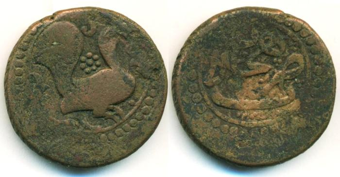 World Coins - PERSIA, PERSIAN CIVIC COPPER: AE FULUS (12.76 g 26 mm), Mint of Lahijan, Peacock, Reeded edge!