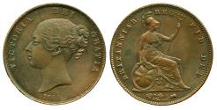 World Coins - UK GREAT BRITAIN: 1854 YOUNG QUEEN VICTORIA ONE PENNY aUNC! ON SALE!