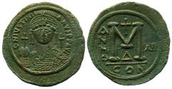 Ancient Coins - BYZANTINE EMPIRE: Justinian I, 527-565 A.D., AE Follis, Constantinople Mint, RY12, Nice!