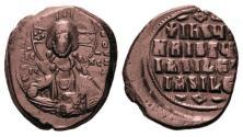 Ancient Coins - BYZANTINE EMPIRE: BASIL II & CONSTANTINE VIII 1025-1028 A.D., BRONZE FOLLIS, JESUS CHRIST KING OF KINGS! ON SALE!